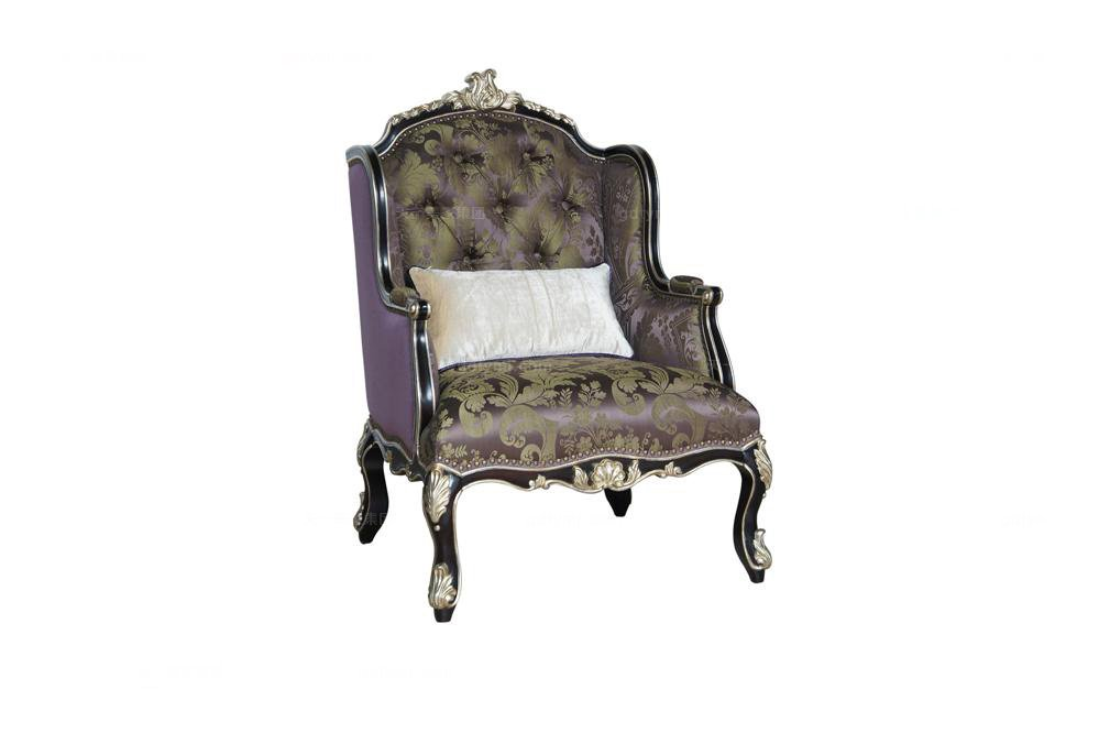 高端时尚法式休闲椅(黑+银)