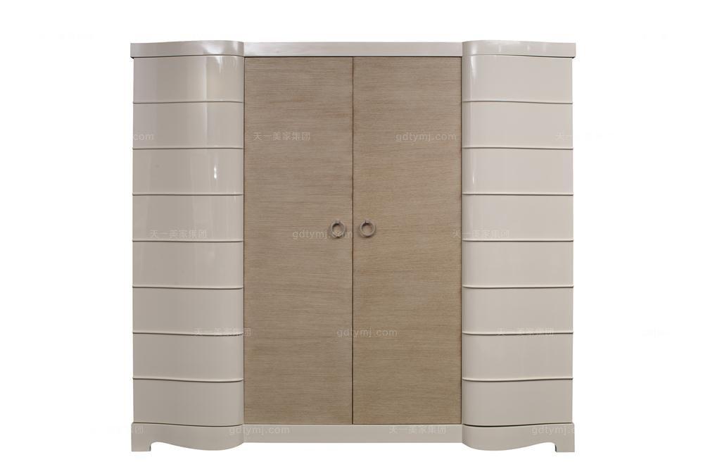 高端品牌美式白色四门衣柜