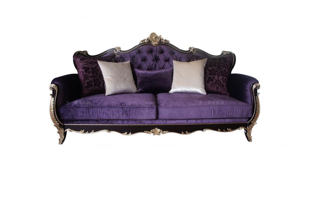 高端法式雕花三位沙发(黑+银)