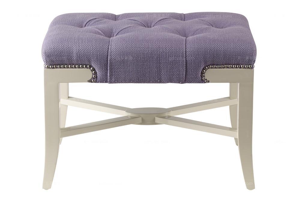 高端品牌美式紫色布艺妆凳