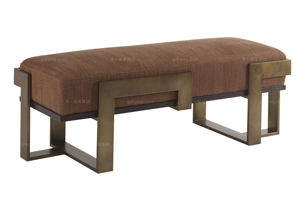 高端品牌美式布艺软包床尾凳