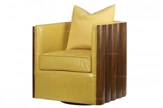 高端品牌美式黄色真皮休闲椅