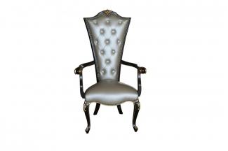 高端别墅法式实木真皮餐椅