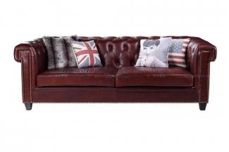 高档法式酒红色别墅真皮沙发