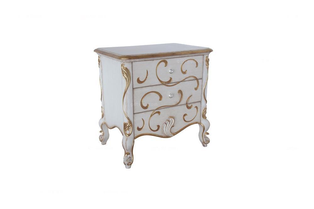 高端时尚法式实木雕花床头柜