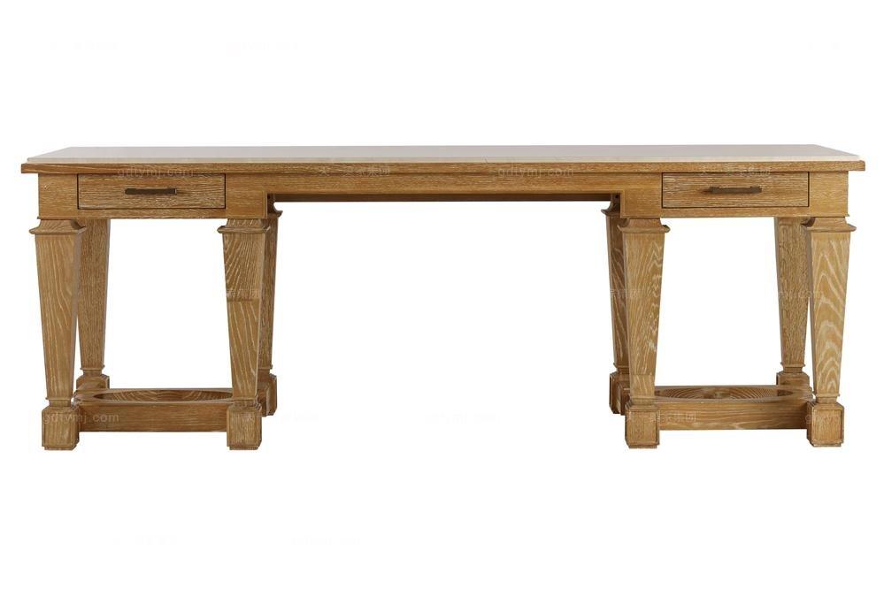 高端美式原木色书桌