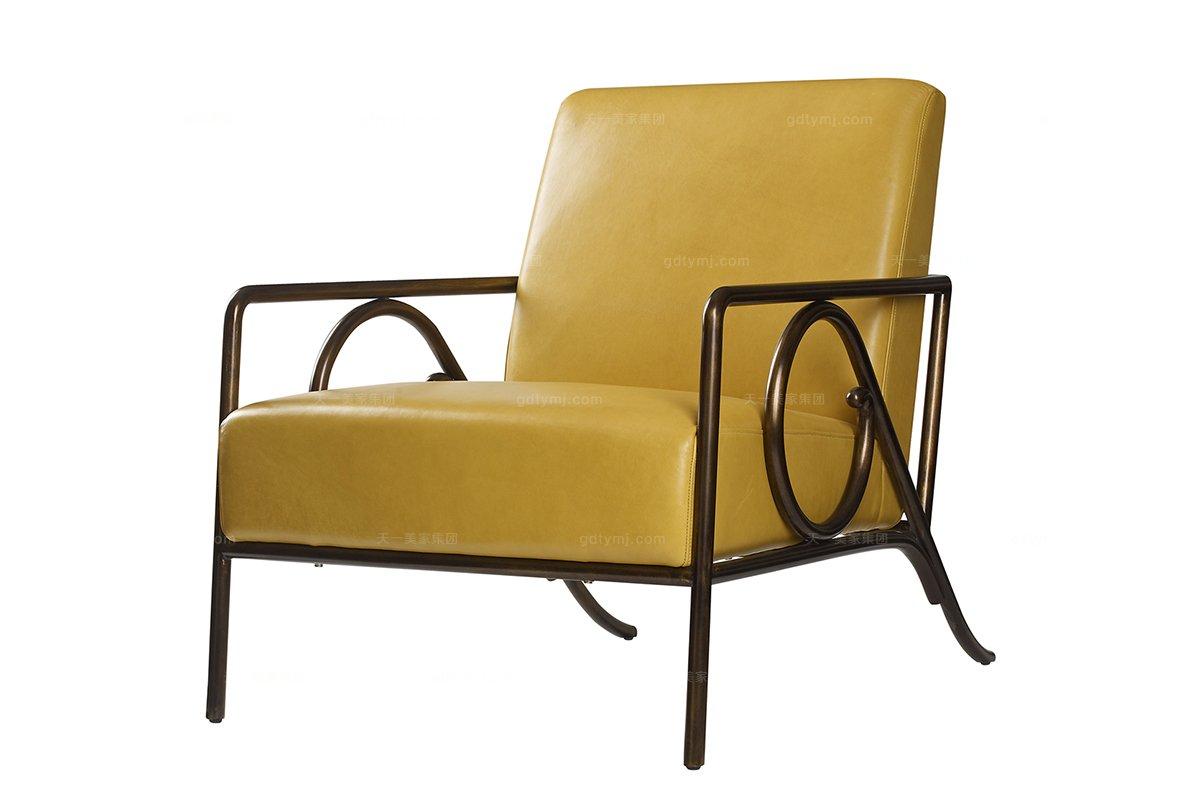 高端品牌美式黄色特定休闲椅