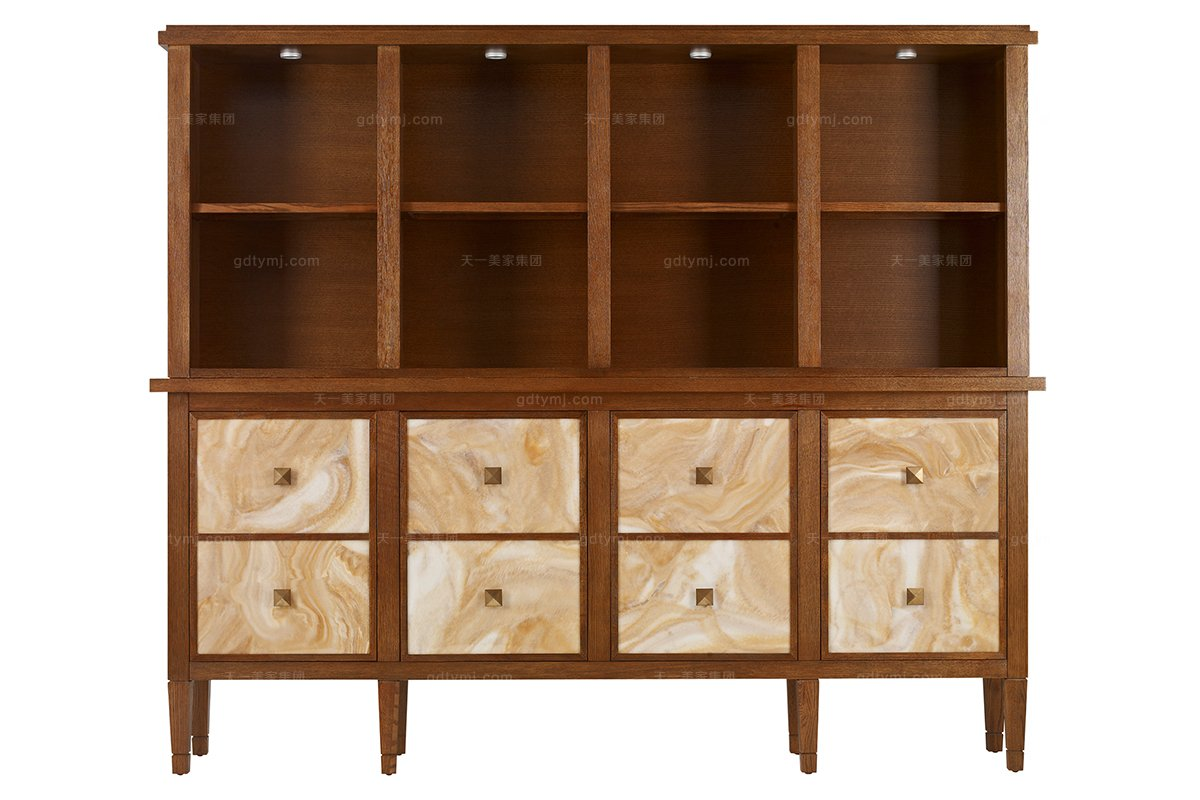 高端美式实木万博手机网页品牌露木色书柜