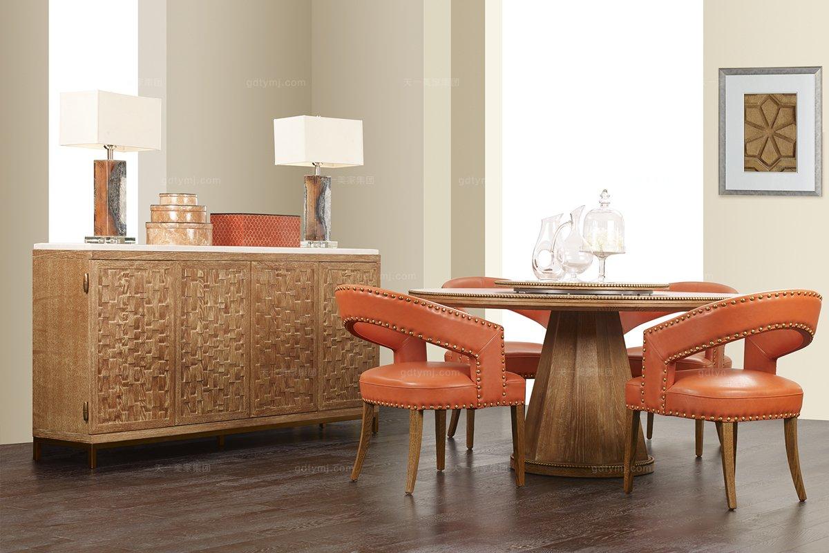 实木餐桌品牌_高端品牌美式实木圆餐桌_高档家具