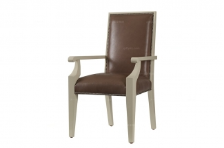 高端品牌美式黑色真皮麻将椅