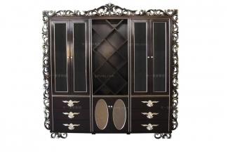 高端别墅法式黑色描银书柜