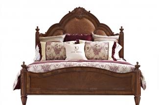 高档品牌美式真皮木色大床