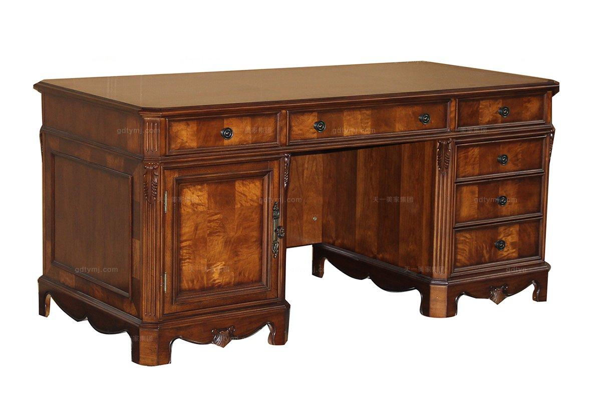 高端品牌美式实木书桌