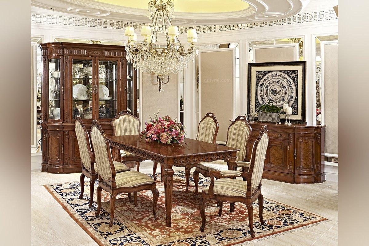 高档品牌美式实木布艺餐椅