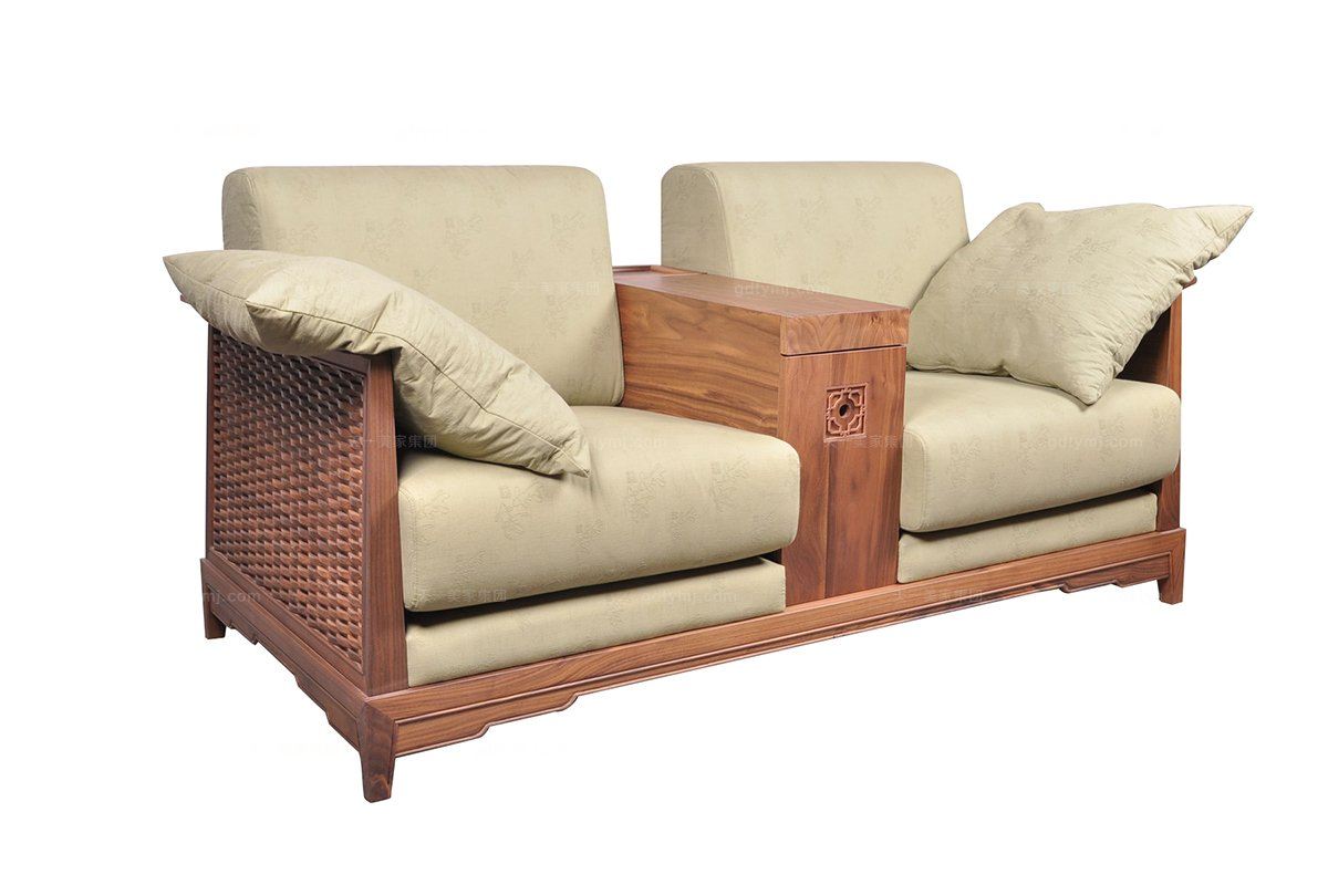 高端东南亚实木双位沙发