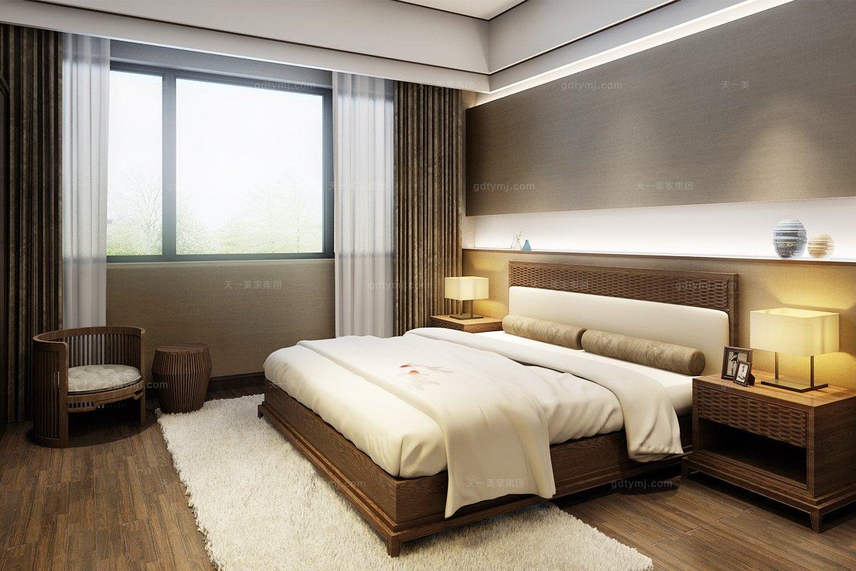 五星级酒店家具图片东南亚实木双人床