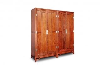 高端中式实木两门衣柜