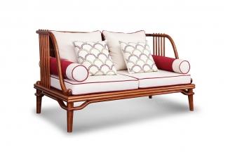 高端会所家具中式实木双人沙发