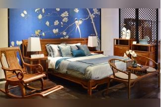高档中国别墅家具中式实木家具双人床