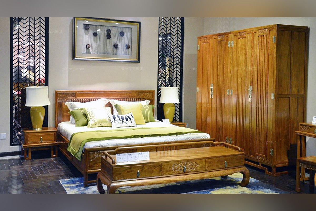 新中式别墅家具实木家具双人床