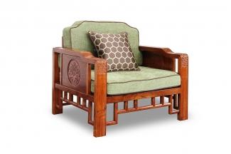 高端会所家具中式单人沙发
