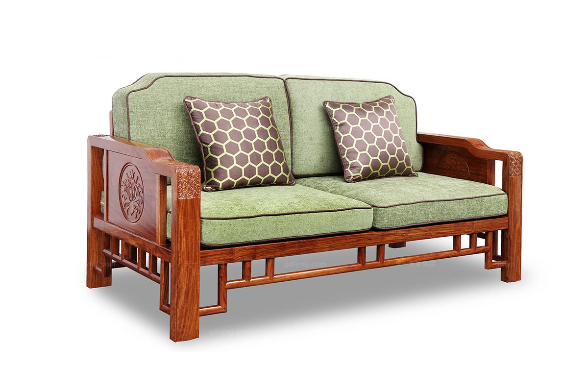高端中式别墅实木沙发浮雕双人沙发