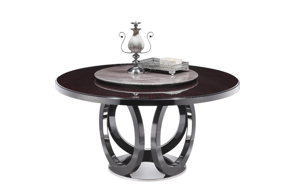 高端品牌后现代黑亮山水紫石面转盘圆餐台