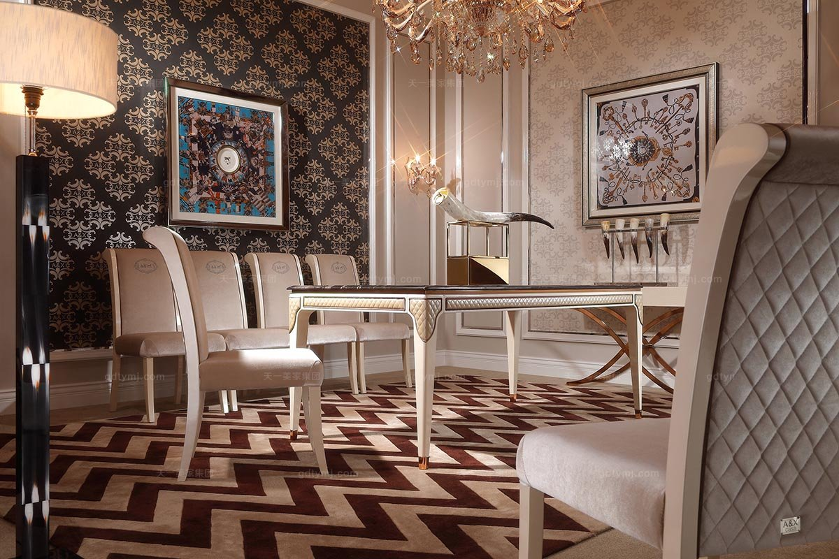 高端时尚家具品牌后现代米白色绒布艺餐椅