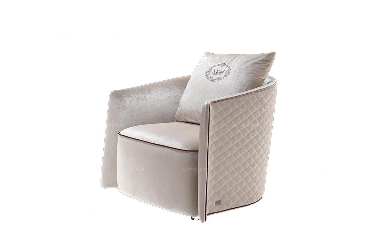 高端现代奢华万博手机网页后现代米白色绒布休闲椅(大)