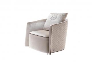 高端现代奢华家具后现代米白色绒布休闲椅(大)
