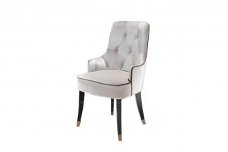 高端后现代米白色绒布拉点餐椅