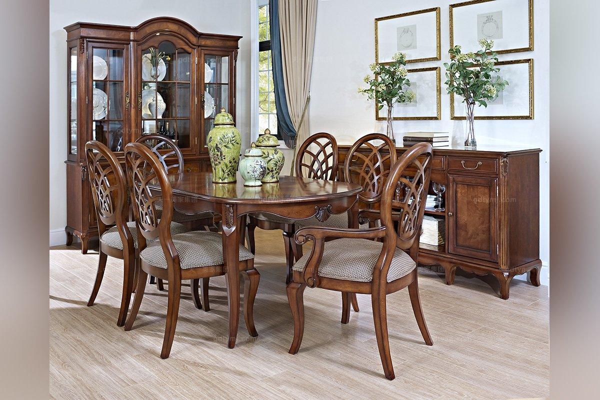 高端实木家具美式长餐桌