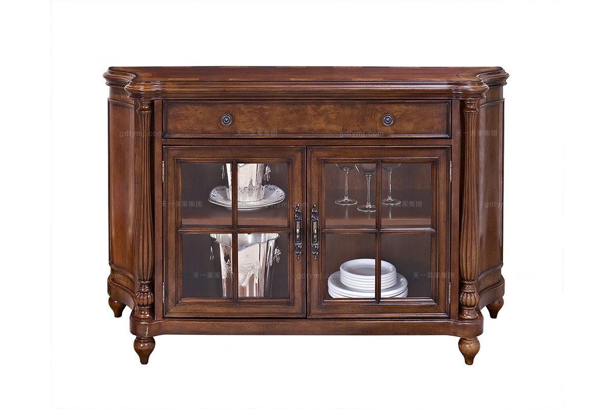 高端实木家具美式备餐柜