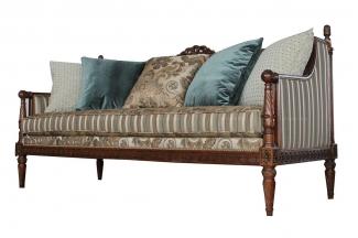 高端万博手机网页美式花纹布艺双位沙发