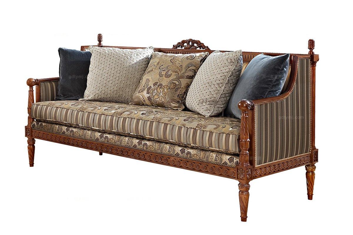 高端家具美式布艺条纹三人位沙发