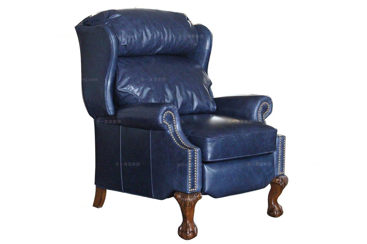 高档家具美式真皮功能单人沙发
