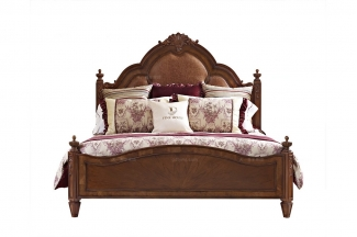 高端大连别墅家具木美式真皮双人床