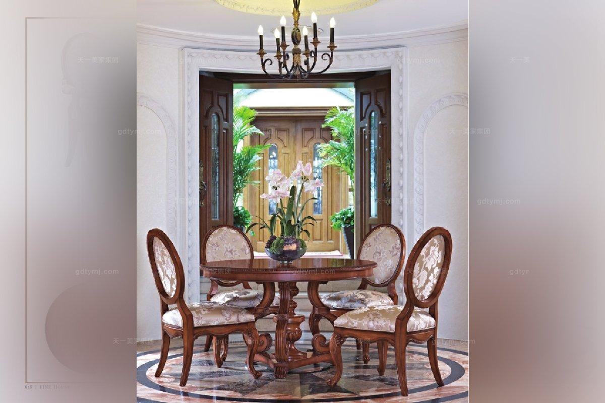 高端实木家具美式花纹布艺餐椅