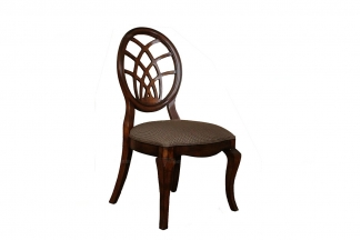 高端品牌别墅家具实木美式圆背布艺餐椅