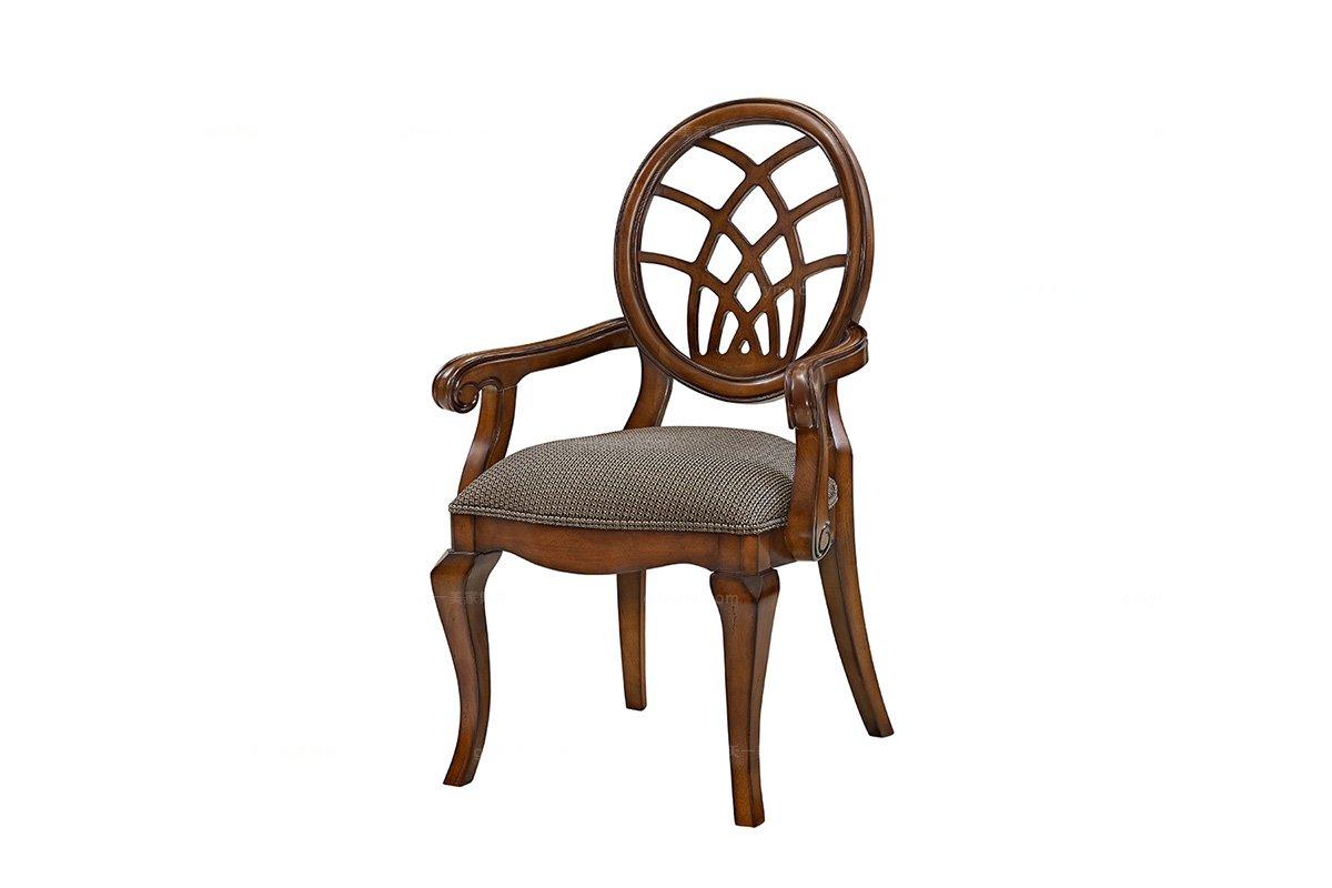 高端品牌别墅万博手机网页实木美式圆背布艺餐椅