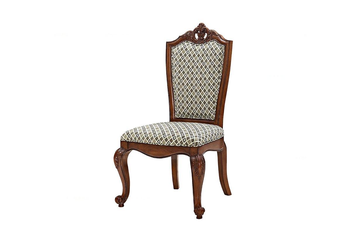 高端湖南别墅家具实木美式布艺餐椅