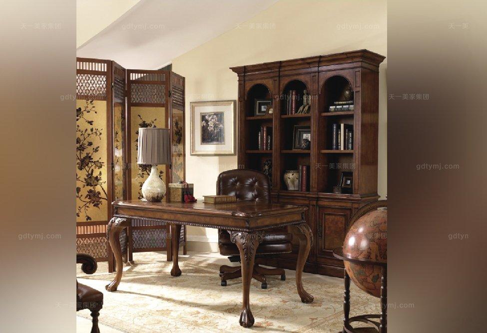 高端实木家具美式露木色书柜