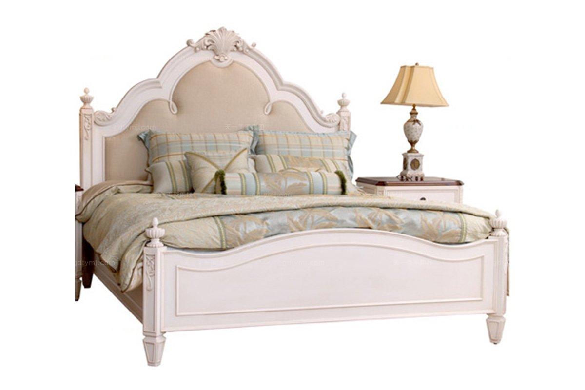 美式别墅花园家具实木白色双人床