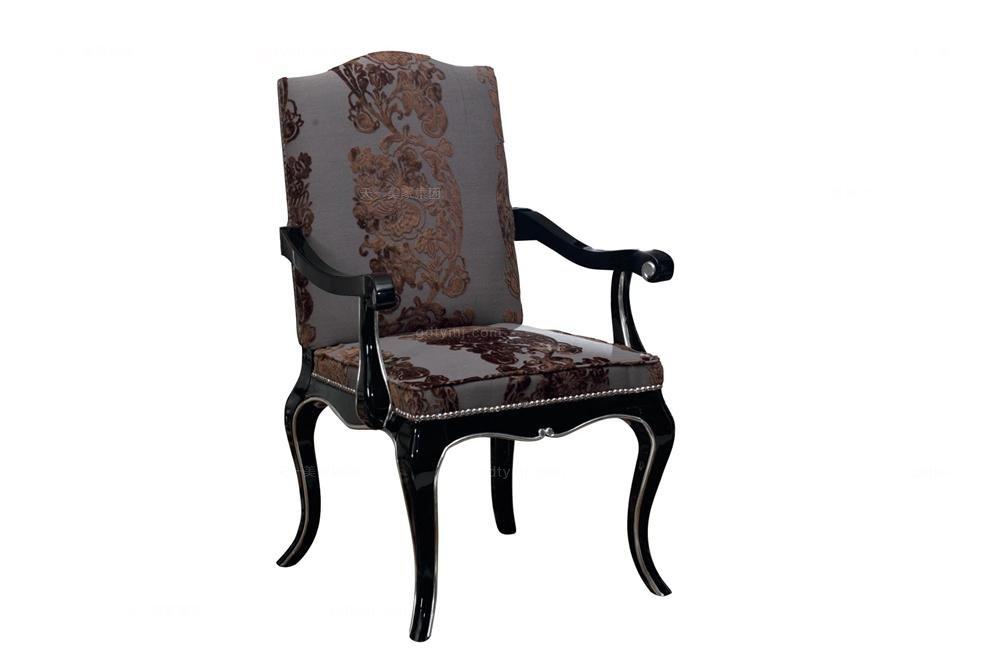 实木万博手机网页奢华新古典休闲椅扶手餐椅