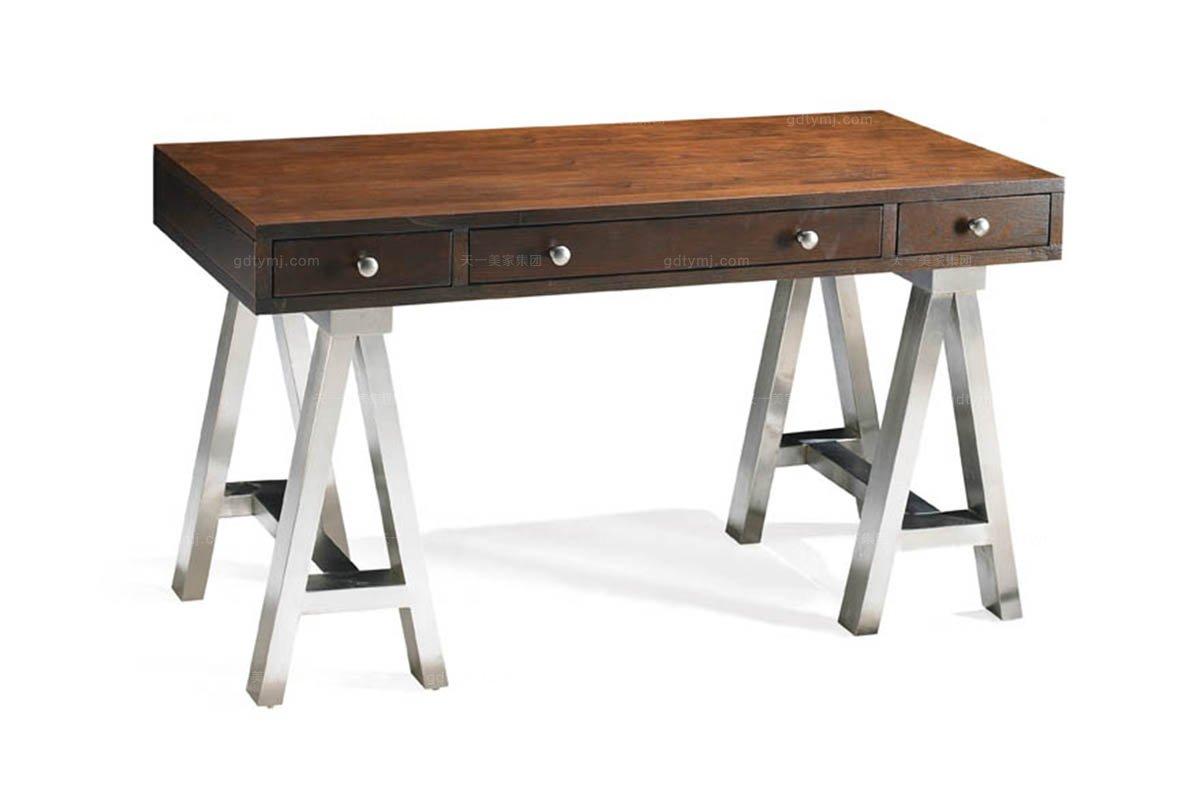 高端实木家具美式木色书桌