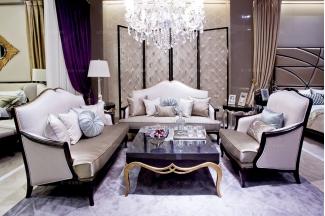 高档别墅家具配套新古典真丝布艺双人沙发