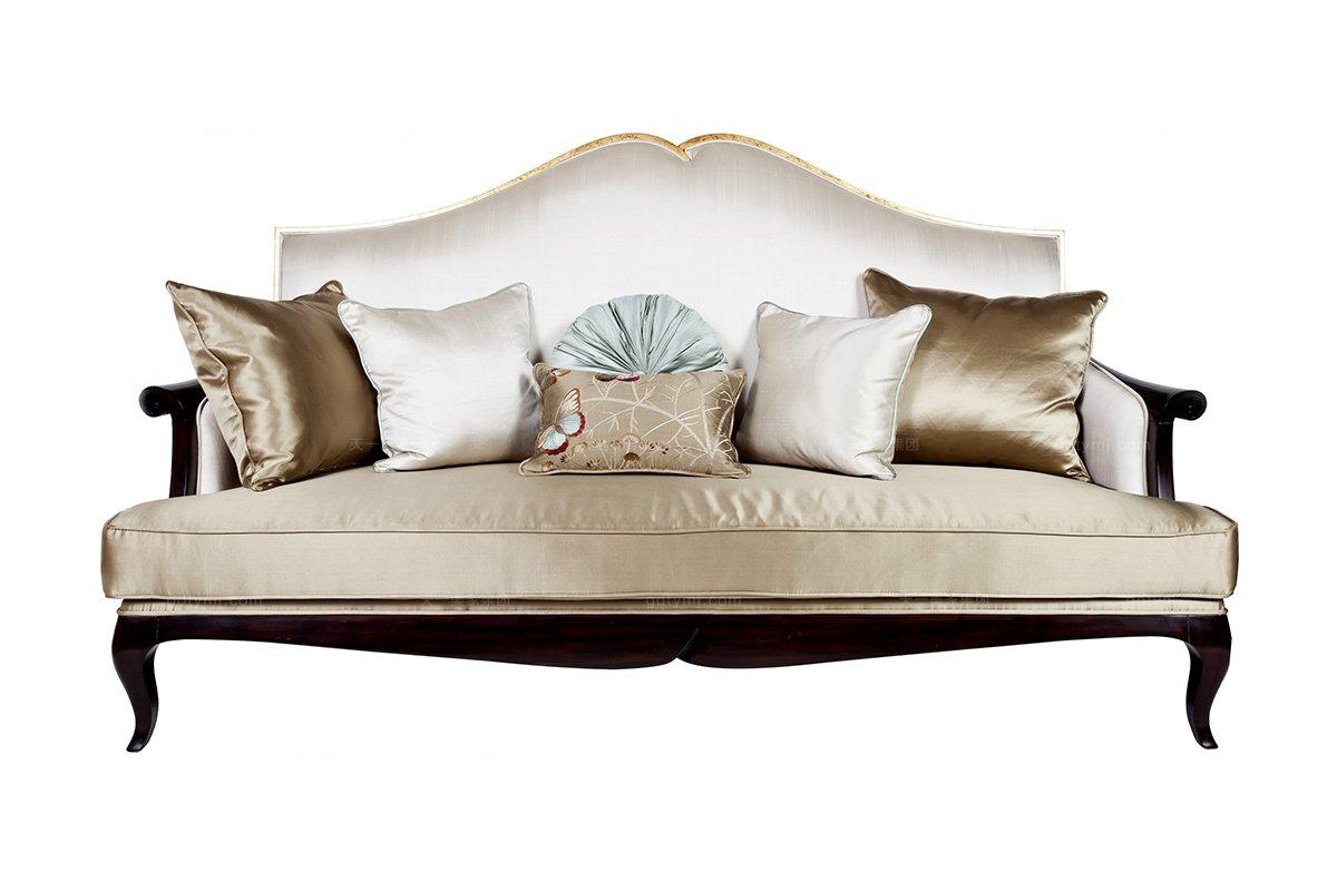 高端新古典真丝布艺三人沙发