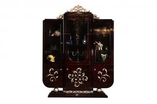 高端奢华新古典黑亮三门酒柜