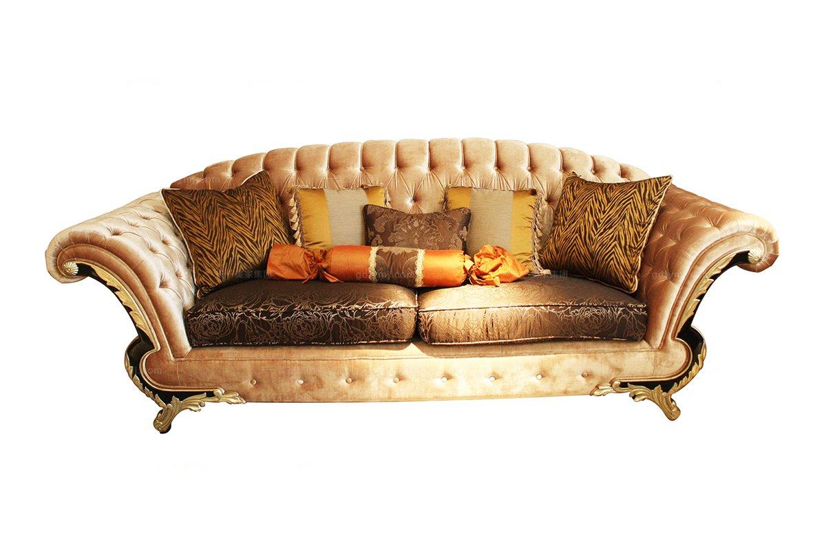 高端奢华新古典布艺三人位沙发