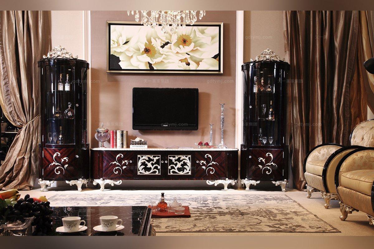 高端奢华新古典黑亮电视柜
